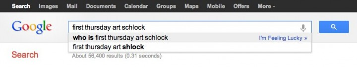 """I'm feeling lucky..."" Screenshot of and collaboration with Google Suggested Search, 2012"